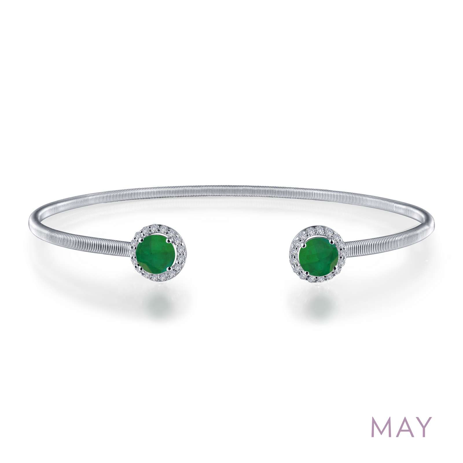 May - Emerald. Adorn yourself with Lafonn's birthstone jewelry. This flexible stackable open cuff halo bangle bracelet is set with Lafonn's signature Lassaire simulated diamonds and simulated emeralds. Bracelet is in sterling silver bonded with platinum.