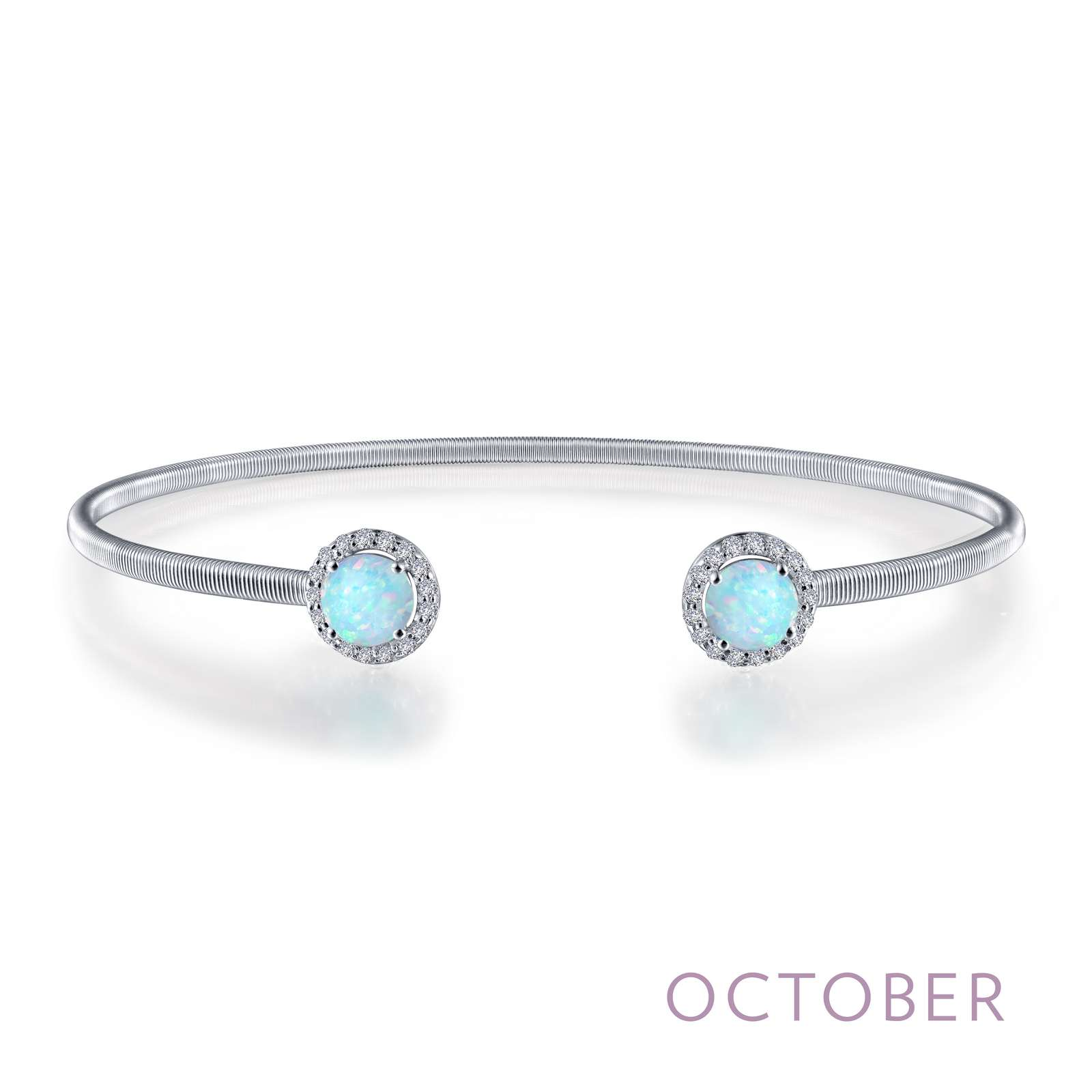 October - Opal. Adorn yourself with Lafonn's birthstone jewelry. This flexible stackable open cuff halo bangle bracelet is set with Lafonn's signature Lassaire simulated diamonds and simulated opals. Bracelet is in sterling silver bonded with platinum.