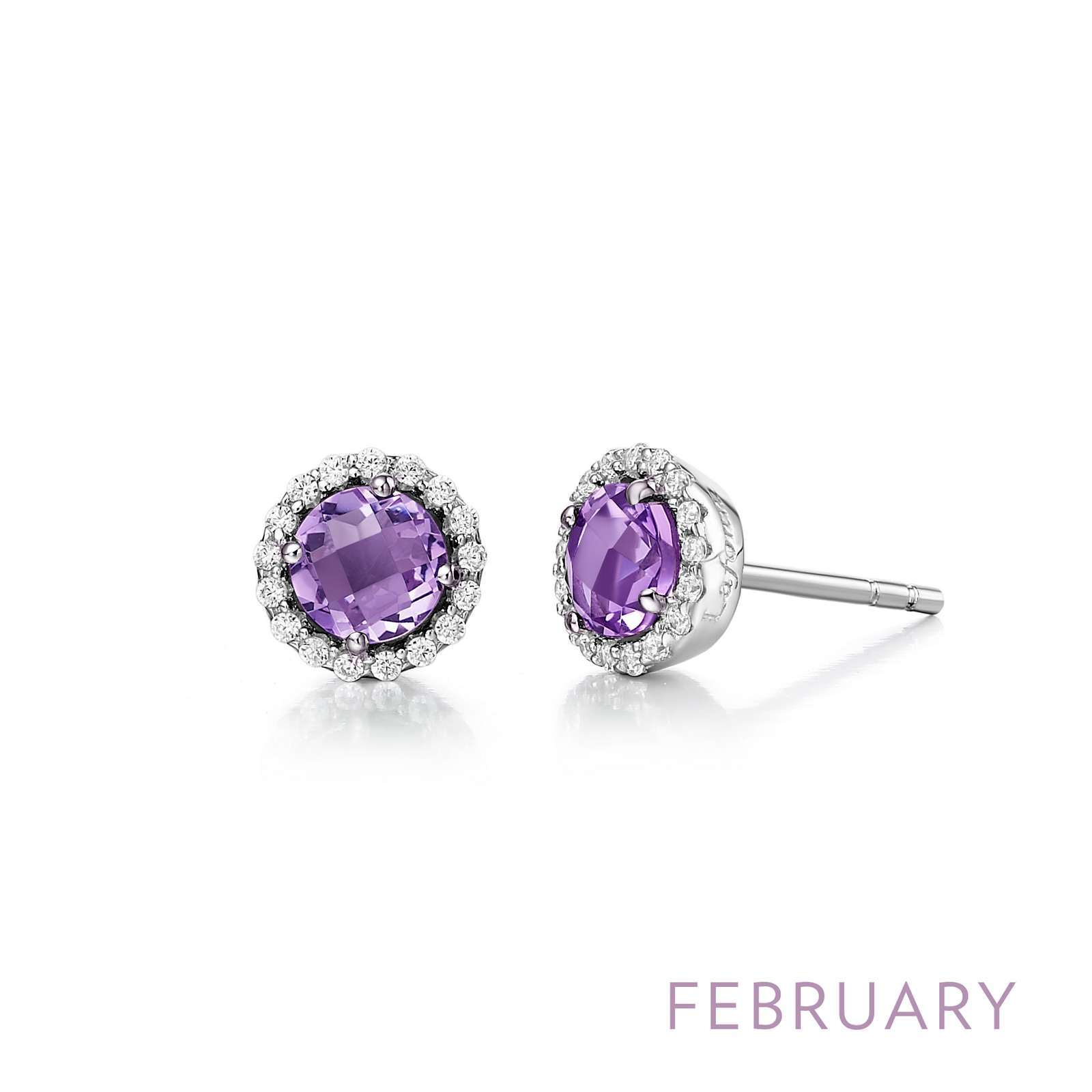 February - Amethyst. Adorn yourself with Lafonn's birthstone jewelry. These halo stud earrings are set with genuine round amethysts surrounded by Lafonn's signature Lassaire simulated diamonds in sterling silver bonded with platinum.