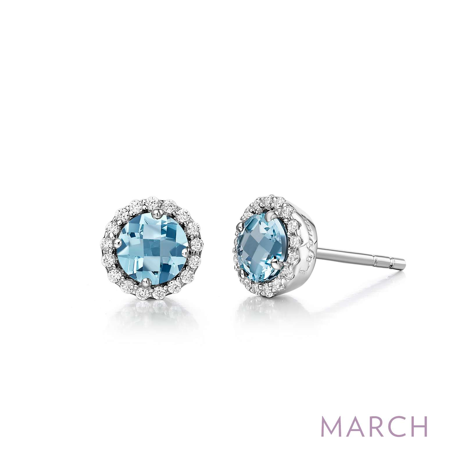 March - Aquamarine. Adorn yourself with Lafonn's birthstone jewelry. These halo stud earrings are set with simulated aquamarines surrounded by Lafonn's signature Lassaire simulated diamonds in sterling silver bonded with platinum.