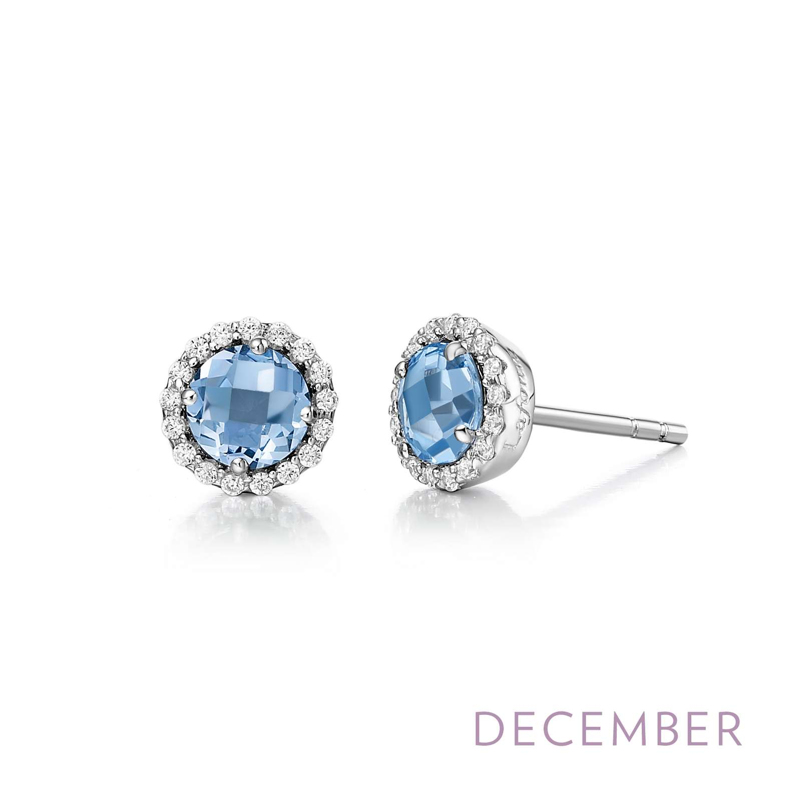 December - Blue Topaz.  Adorn yourself with Lafonn's birthstone jewelry. These halo stud earrings are set with genuine blue topazes surrounded by Lafonn's signature Lassaire simulated diamonds in sterling silver bonded with platinum.