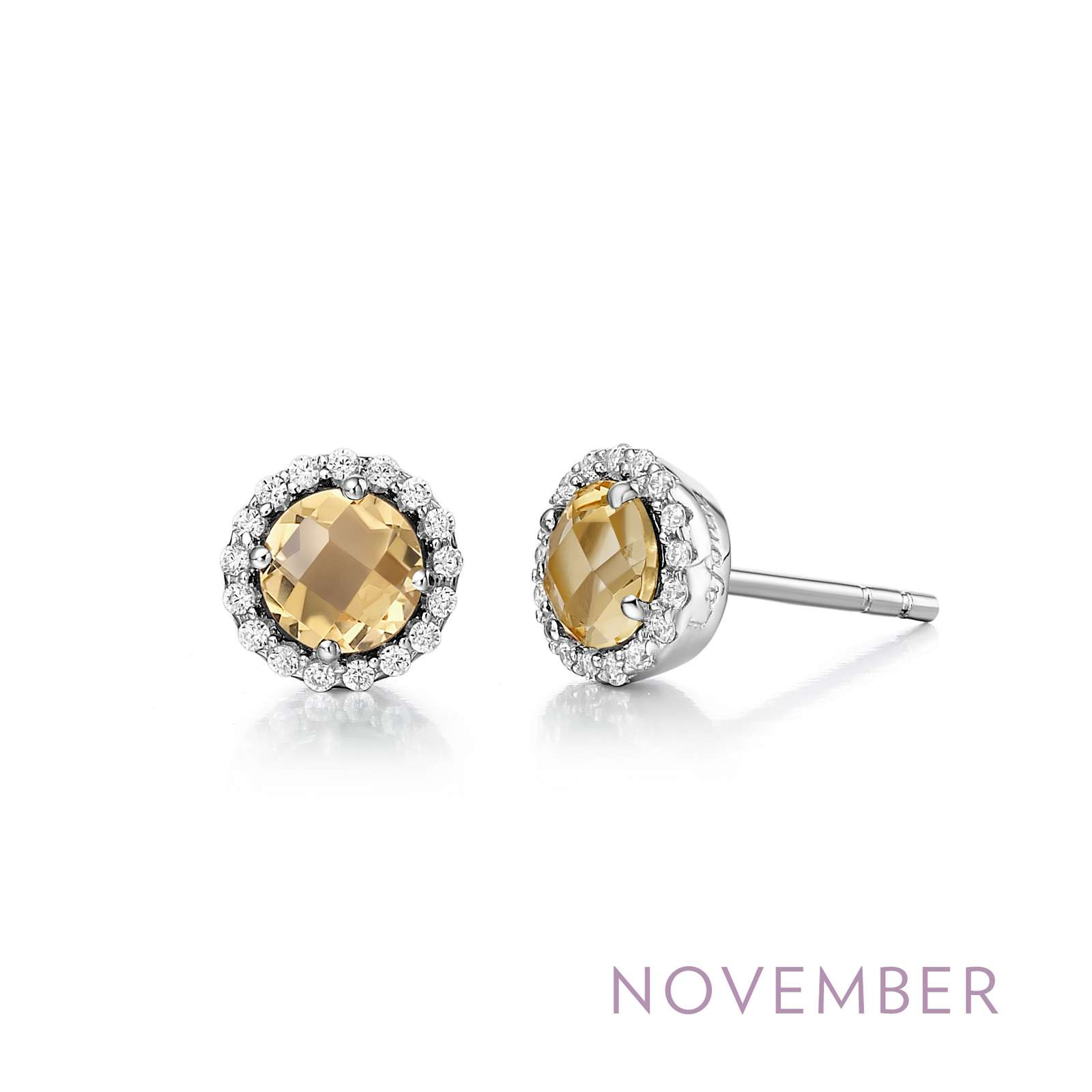 November - Citrine.  Adorn yourself with Lafonn's birthstone jewelry. These halo stud earrings are set with genuine citrines surrounded by Lafonn's signature Lassaire simulated diamonds in sterling silver bonded with platinum.