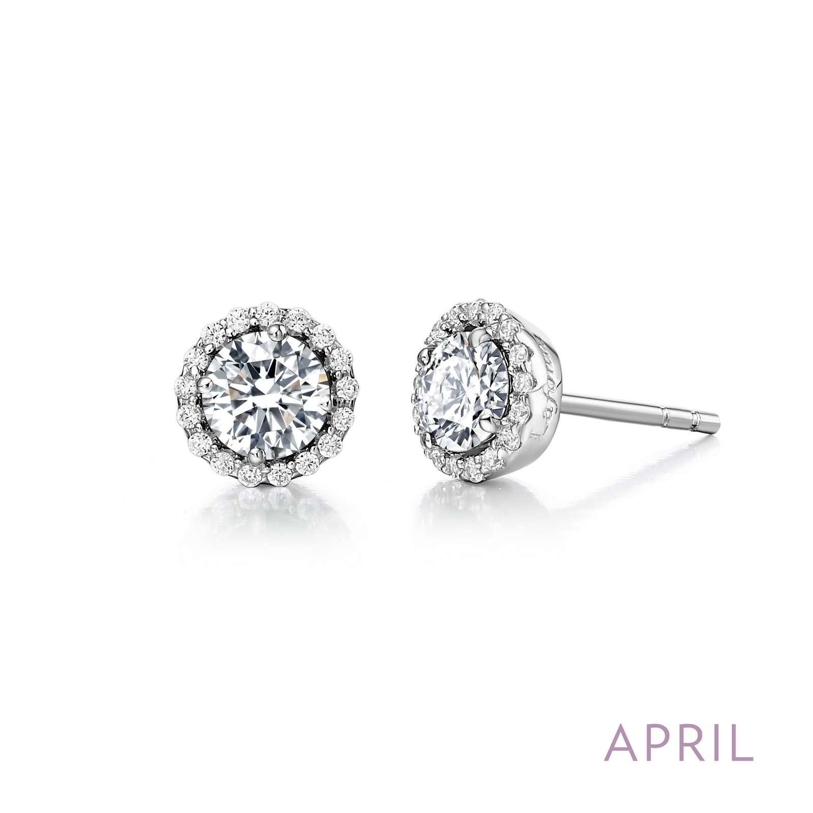 April - Diamond.  Adorn yourself with Lafonn's birthstone jewelry. These halo stud earrings are set with Lafonn's signature Lassaire simualted diamonds in sterling silver bonded with platinum.