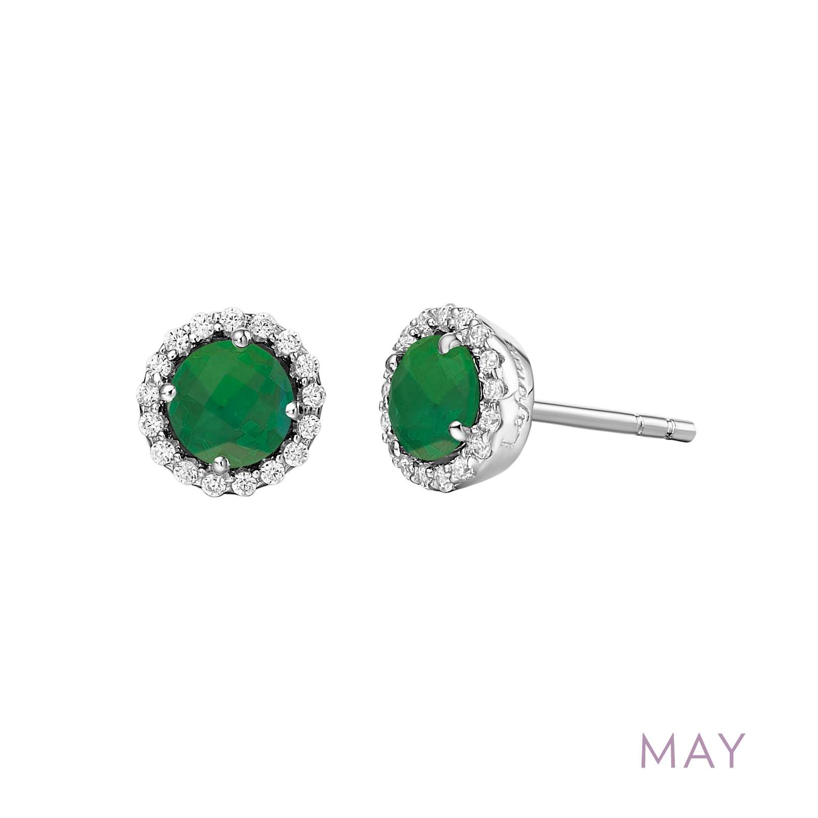 May - Emerald.  Adorn yourself with Lafonn's birthstone jewelry. These halo stud earrings are set with simulated emeralds surrounded by Lafonn's signature Lassaire simulated diamonds in sterling silver bonded with platinum.