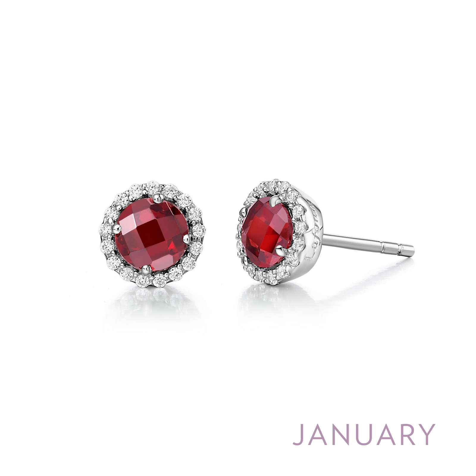 January - Garnet.  Adorn yourself with Lafonn's birthstone jewelry. These halo stud earrings are set with genuine garnets surrounded by Lafonn's signature Lassaire simulated diamonds in sterling silver bonded with platinum.