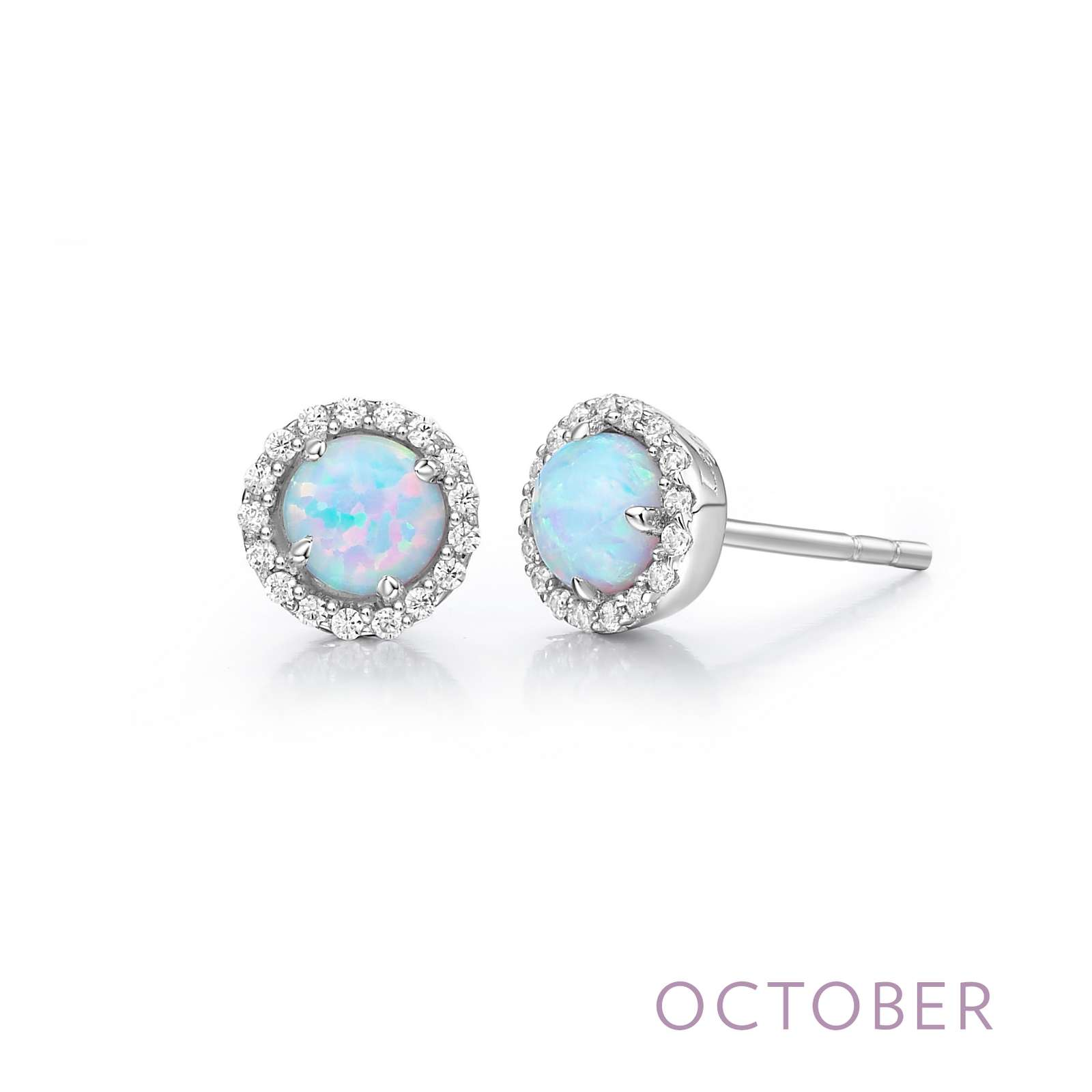 October - Opal.  Adorn yourself with Lafonn's birthstone jewelry. These halo stud earrings are set with simulated opals surrounded by Lafonn's signature Lassaire simulated diamonds in sterling silver bonded with platinum.