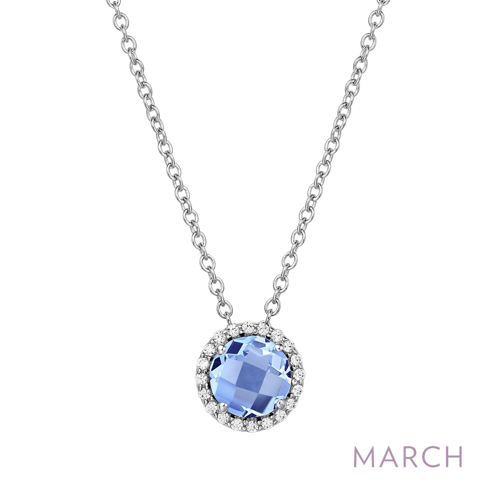 March - Aquamarine. Adorn yourself with Lafonn's birthstone jewelry. The necklace set with a simulated aquamarine surrounded by Lafonn's signature Lassaire simulated diamonds in sterling silver bonded with platinum.