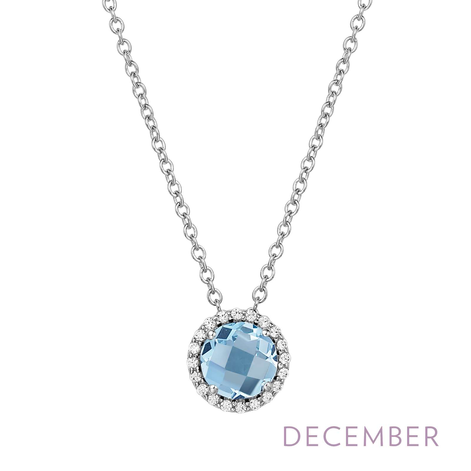 December - Blue Topaz.  Adorn yourself with Lafonn's birthstone jewelry. The necklace is set with a genuine blue topaz surrounded by Lafonn's signature Lassaire simulated diamonds in sterling silver bonded with platinum.