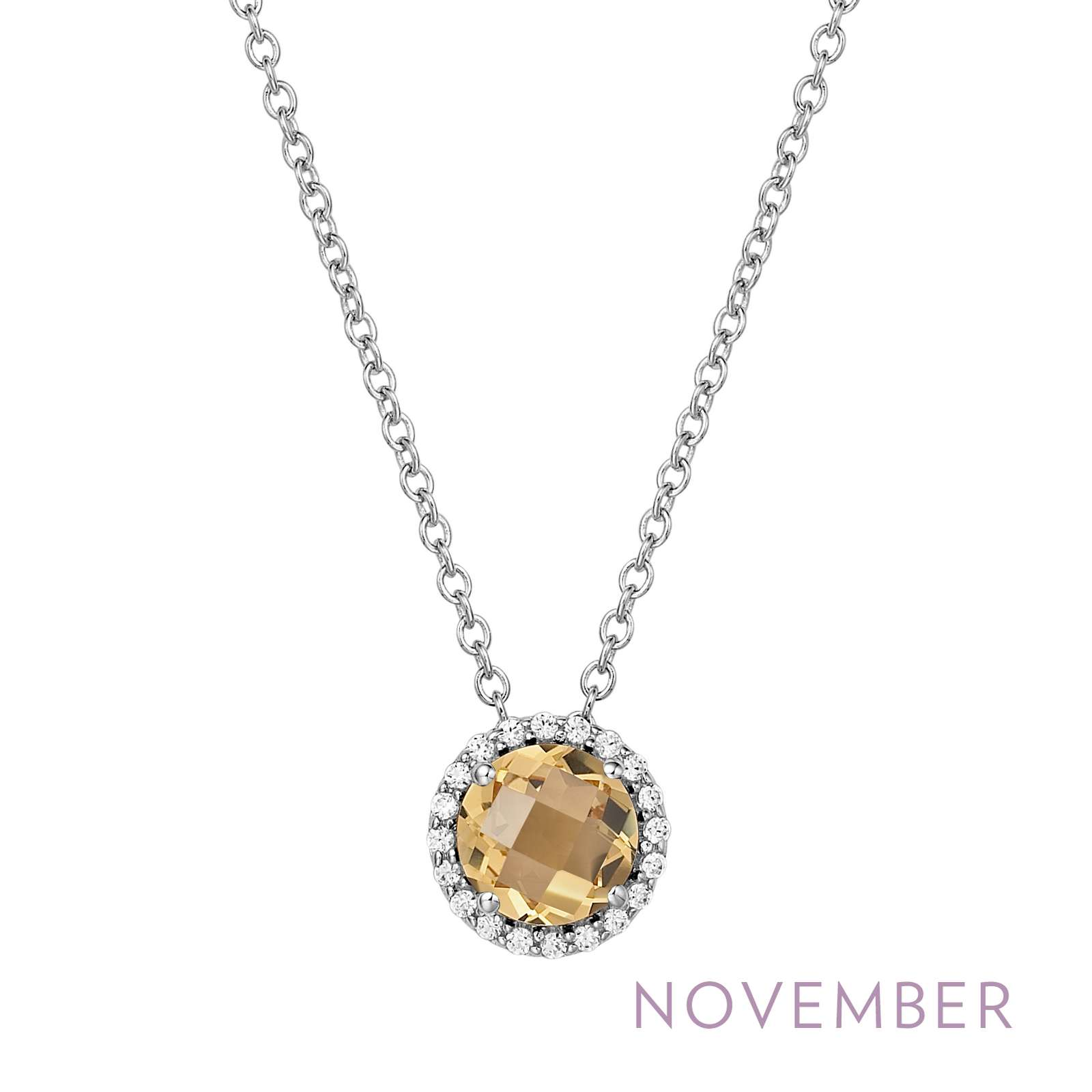 November - Citrine.  Adorn yourself with Lafonn's birthstone jewelry. The necklace is set with a genuine citrine surrounded by Lafonn's signature Lassaire simulated diamonds in sterling silver bonded with platinum.