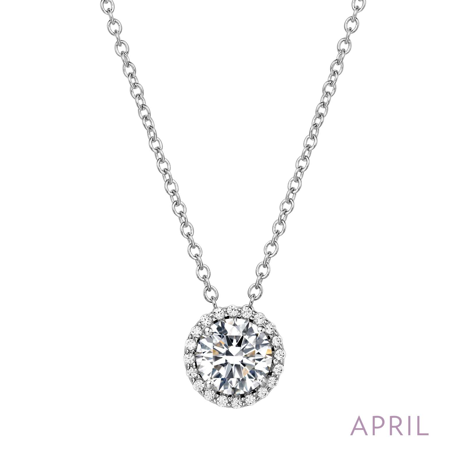 April - Diamond.  Adorn yourself with Lafonn's birthstone jewelry. The necklace is set with, and surrounded by, Lafonn's signature Lassaire simualted diamonds in sterling silver bonded with platinum.