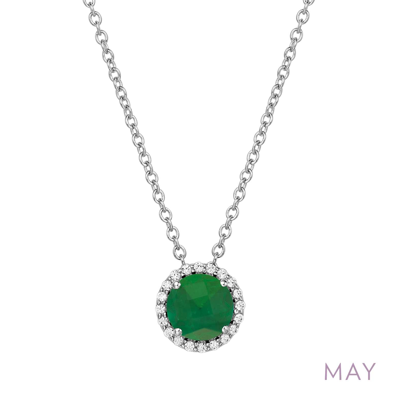 May - Emerald.  Adorn yourself with Lafonn's birthstone jewelry. The necklace is set with a simulated emerald surrounded by Lafonn's signature Lassaire simulated diamonds in sterling silver bonded with platinum.