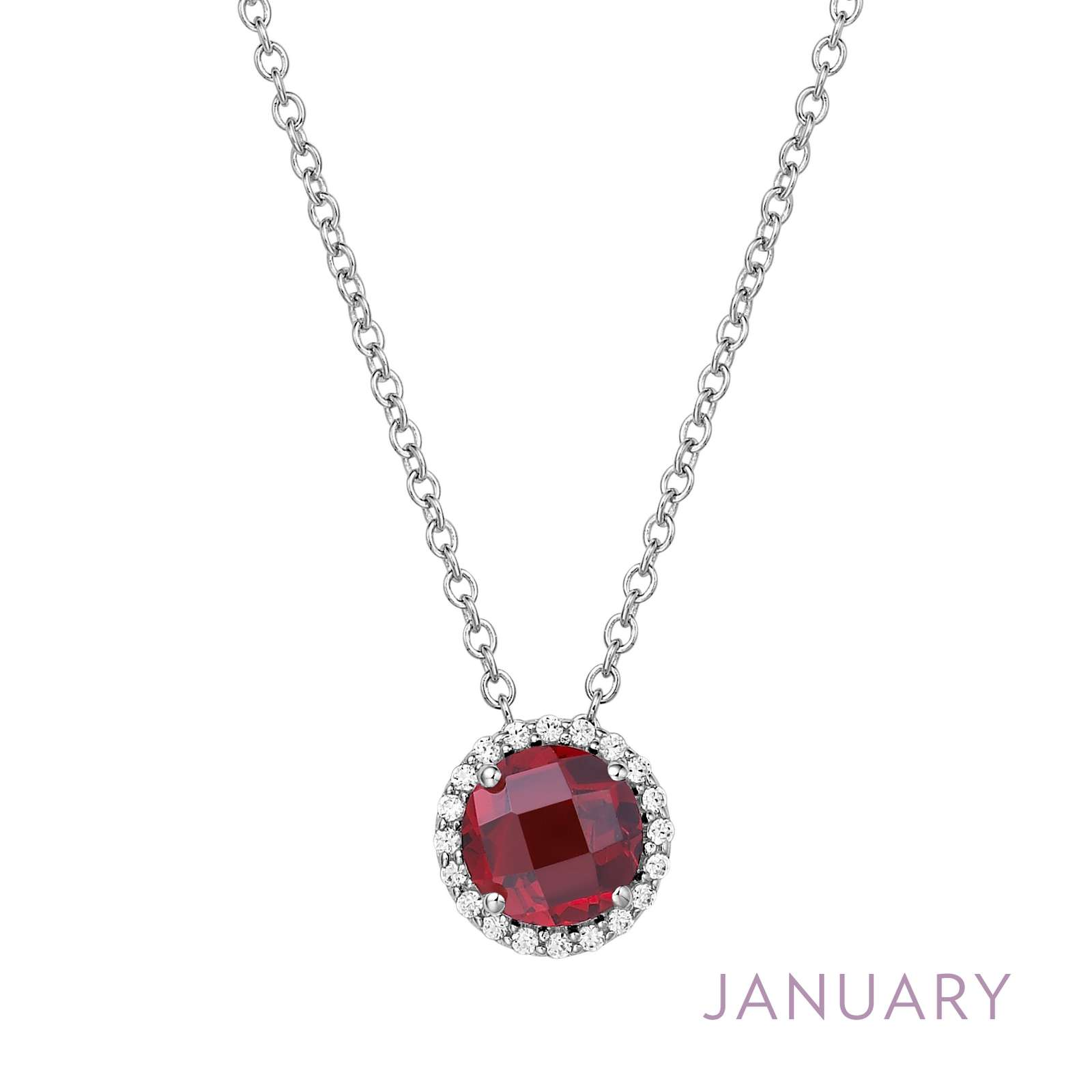 January - Garnet.  Adorn yourself with Lafonn's birthstone jewelry. The necklace is set with a genuine garnet surrounded by Lafonn's signature Lassaire simulated diamonds in sterling silver bonded with platinum.