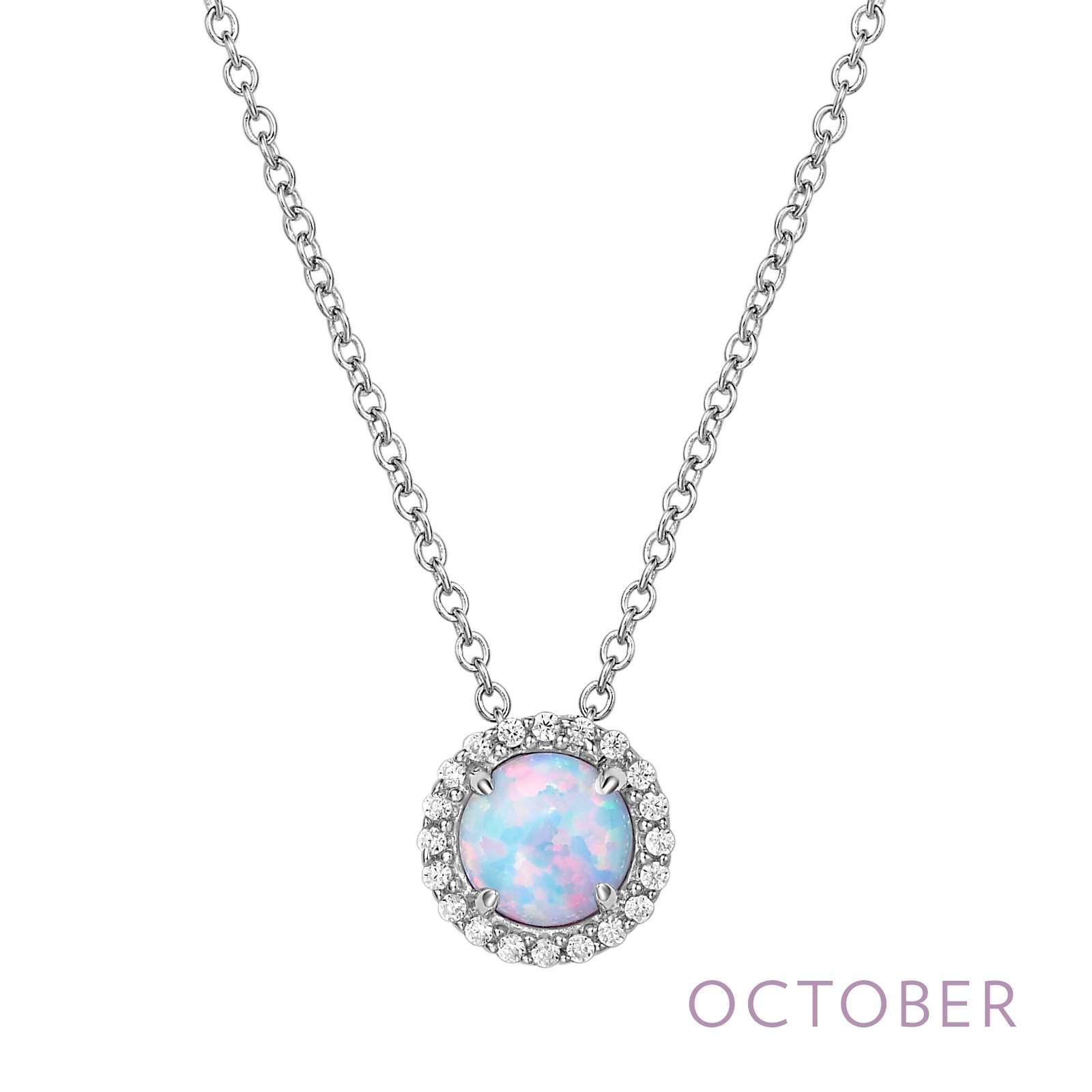 October - Opal.  Adorn yourself with Lafonn's birthstone jewelry. The necklace is set with a simulated opal surrounded by Lafonn's signature Lassaire simulated diamonds in sterling silver bonded with platinum.