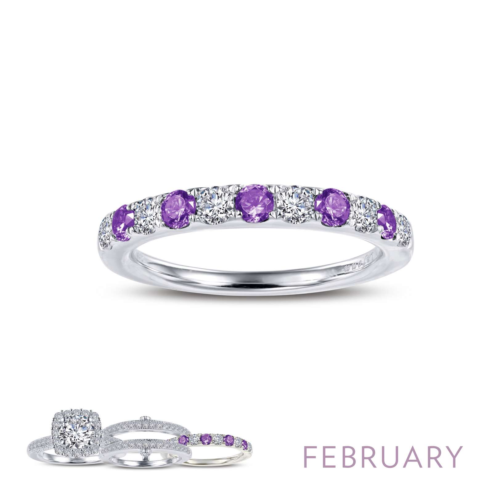 Birthstone FEBRUARY Platinum Ring - February - Amethyst. This half eternity band is set with Lafonn's signature Lassaire simulated diamonds and simulated amethsyts in sterling silver bonded with platinum. Wear it by itself or stack with other rings.