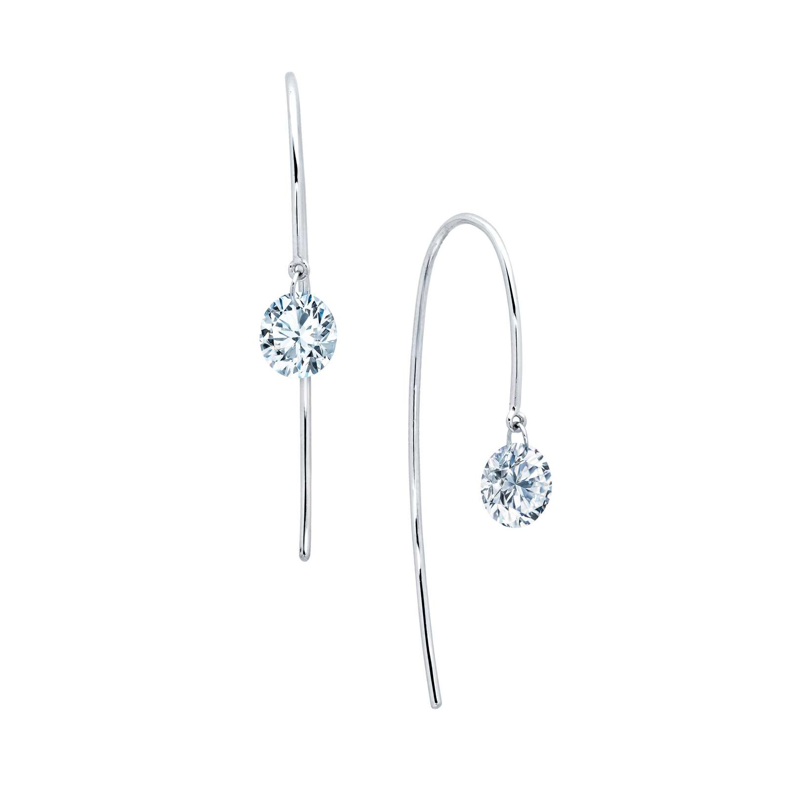 Lassaire In Motion Simulated Diamond Platinum Bonded Earrings by Lafonn