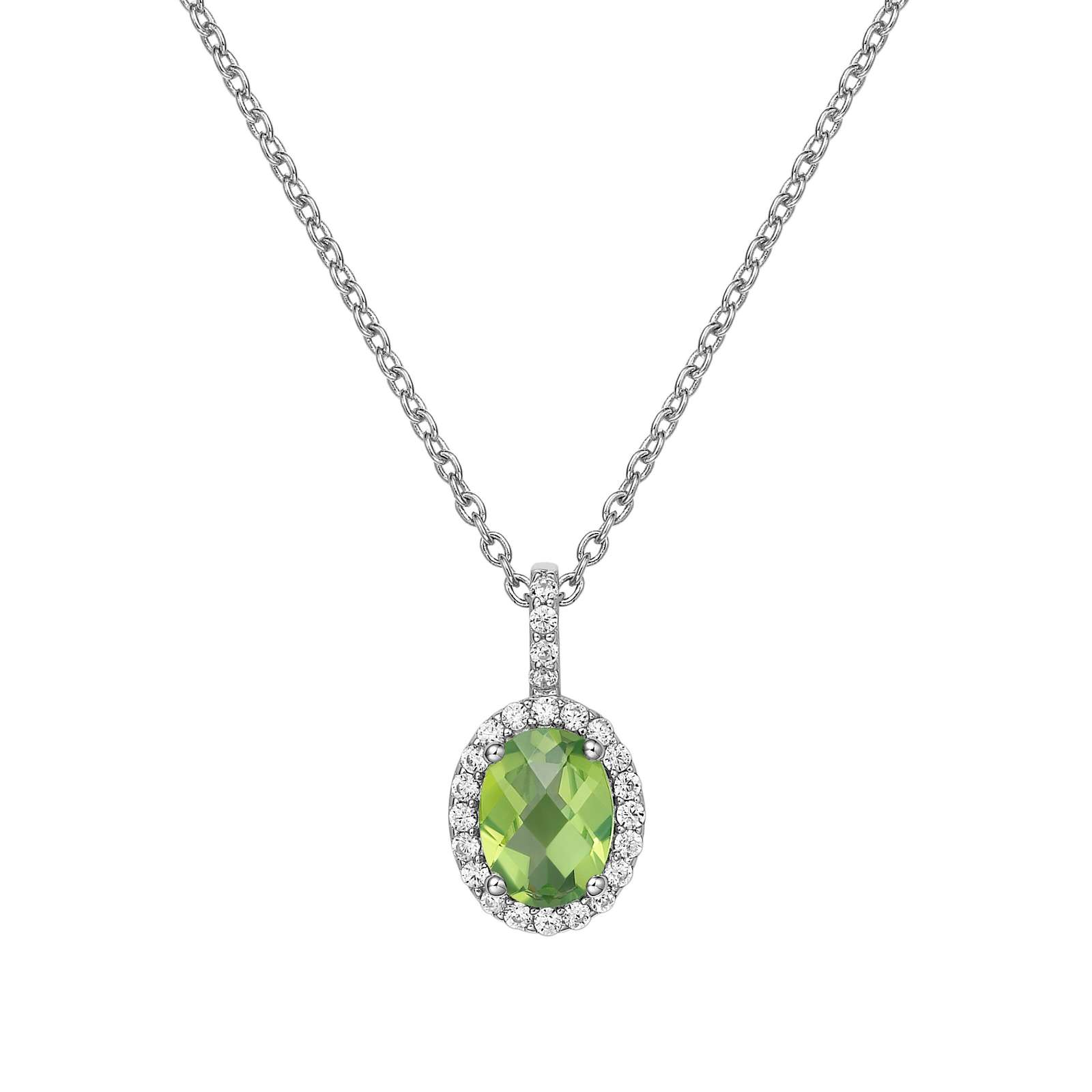 Aria Necklace - The classic look of Lafonn's Aria pendant adds elegance to any ensemble. The pendant is set with a genuine oval checkerboard-cut peridot surrounded by Lafonn's signature Lassaire simulated diamonds in sterling silver bonded with platinum. The pendant comes on an adjustable 18