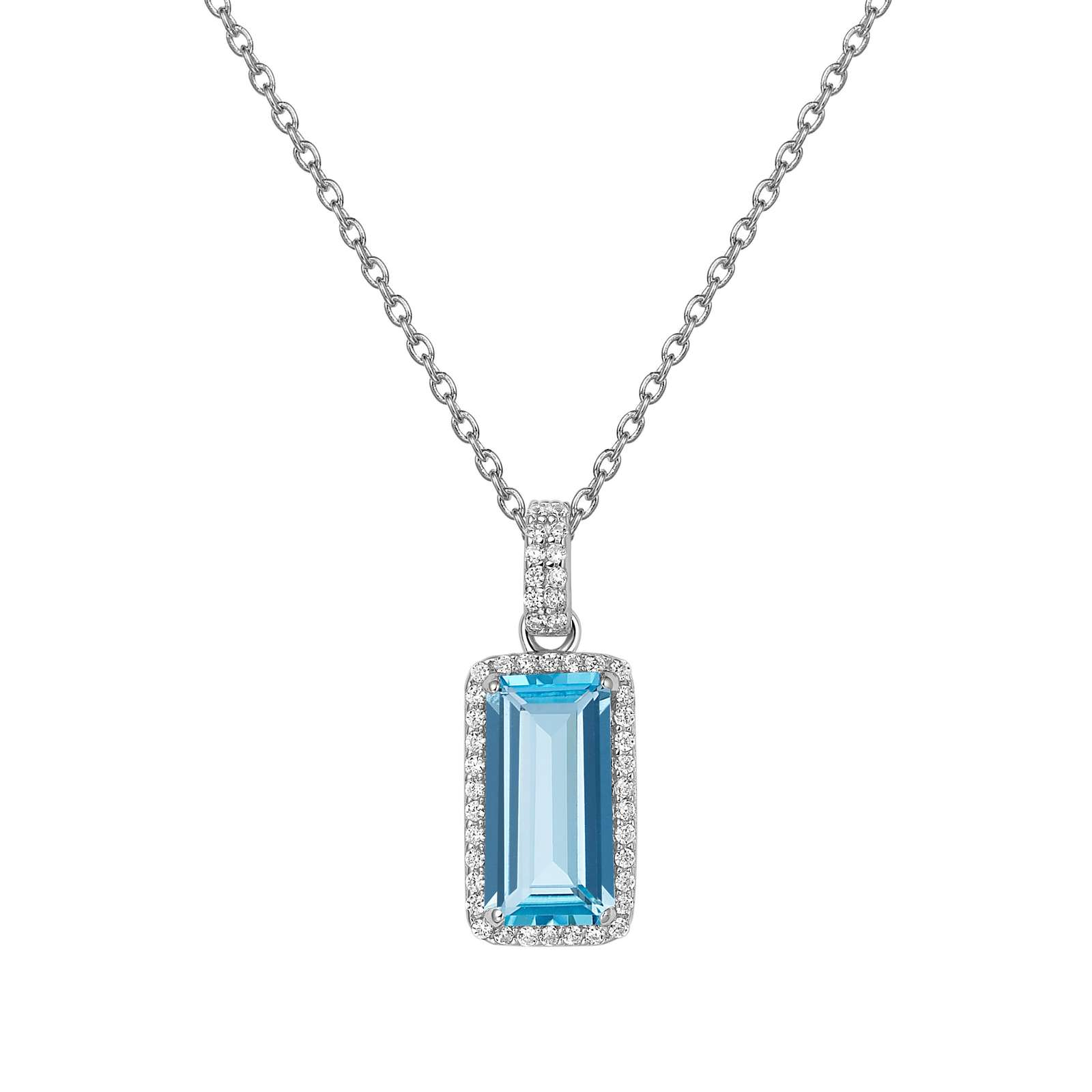 Aria Necklace - The sleek look of Lafonn's Aria pendant adds style to any ensemble. The pendant is set with a genuine emerald cut sky blue topaz surrounded by Lafonn's signature Lassaire simulated diamonds in sterling silver bonded with platinum. The pendant comes on an adjustable 18
