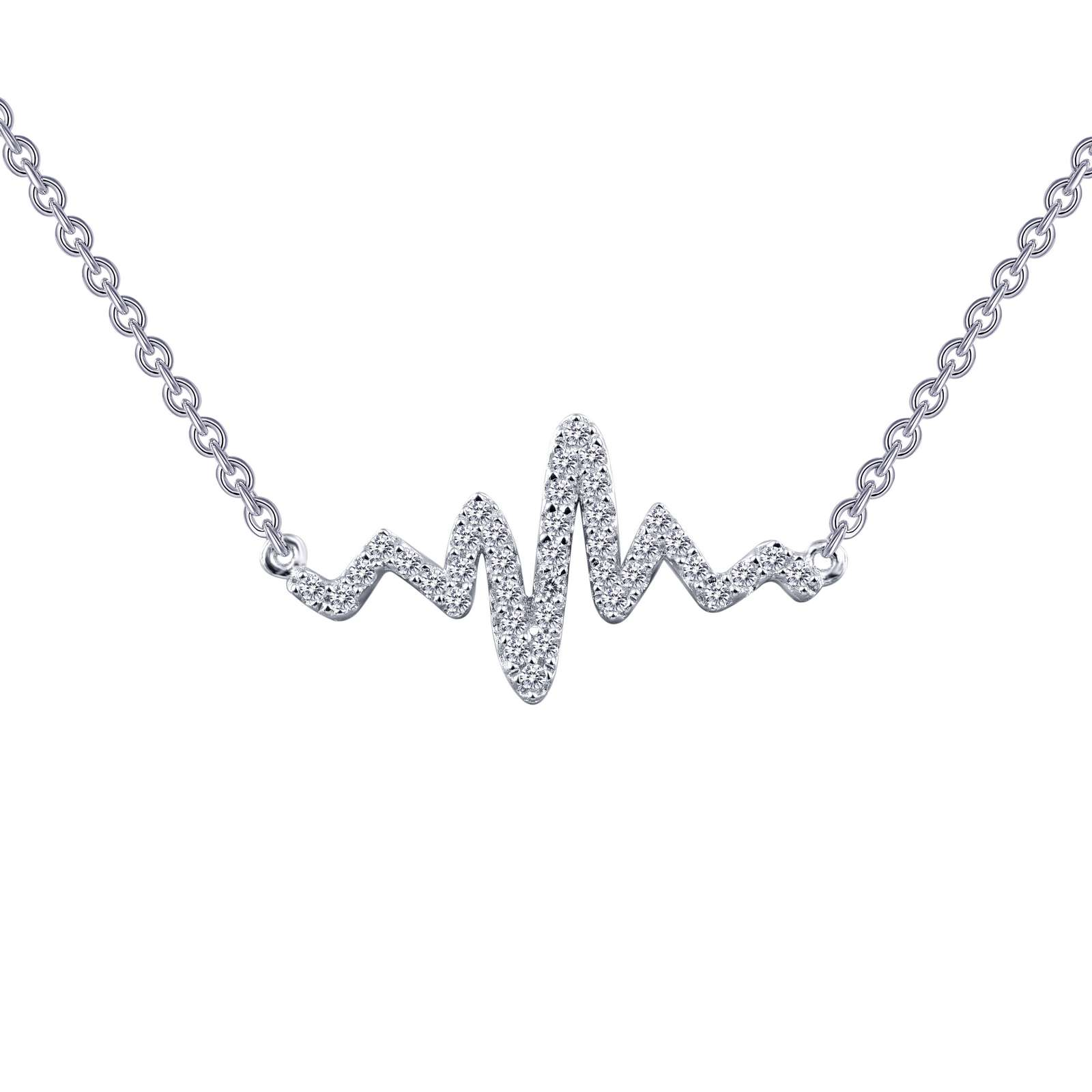Classic Necklace - Playful and romantic. This heartbeat necklace is set with Lafonn's signature Lassaire clear simulated diamonds in sterling silver bonded with platinum.