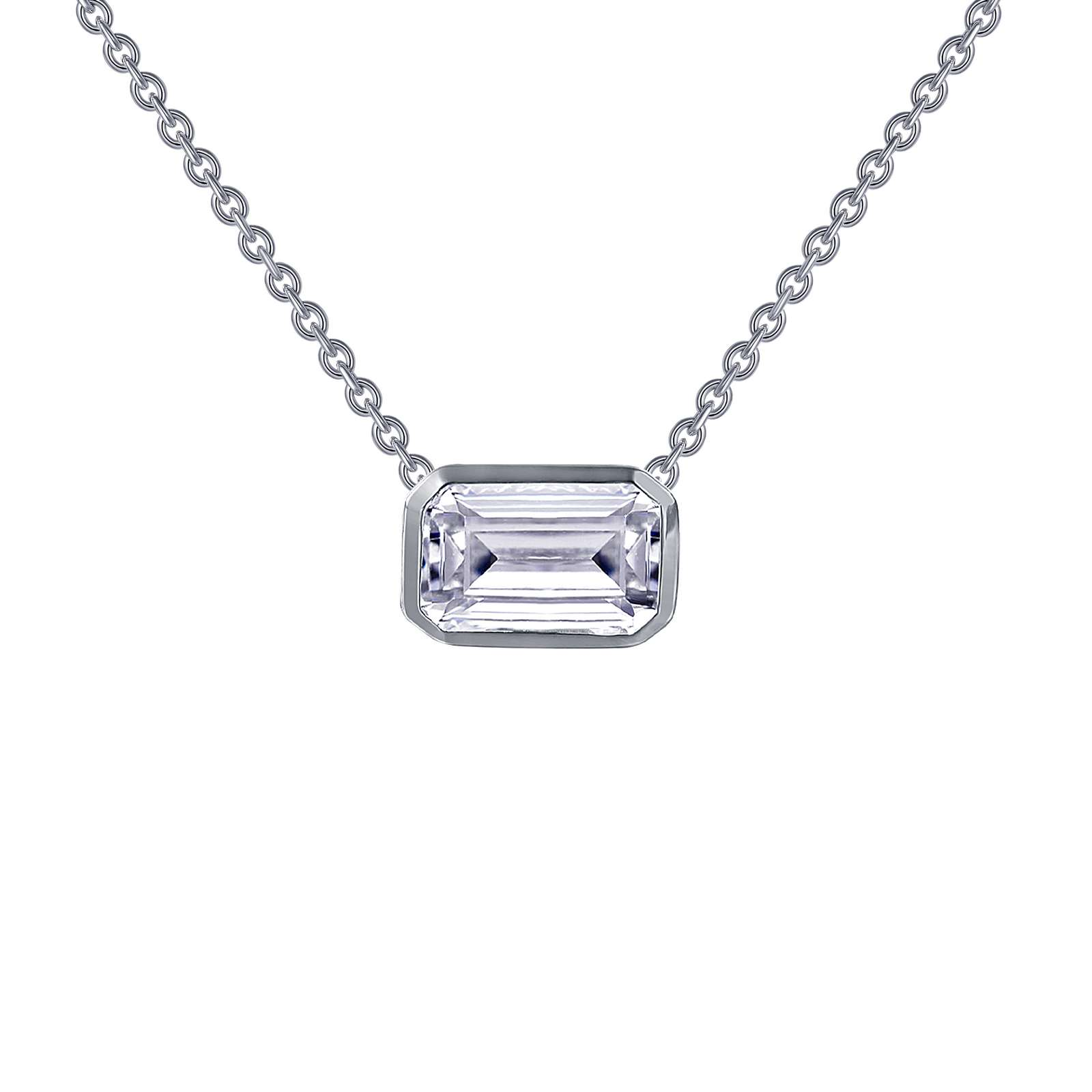 Monte Carlo Necklace - An elegant statement for any occasion. This adjustable choker necklace features an emerald-cut bezel-set Lafonn's signature Lassaire simulated diamond. The necklace is in sterling silver bonded with platinum.