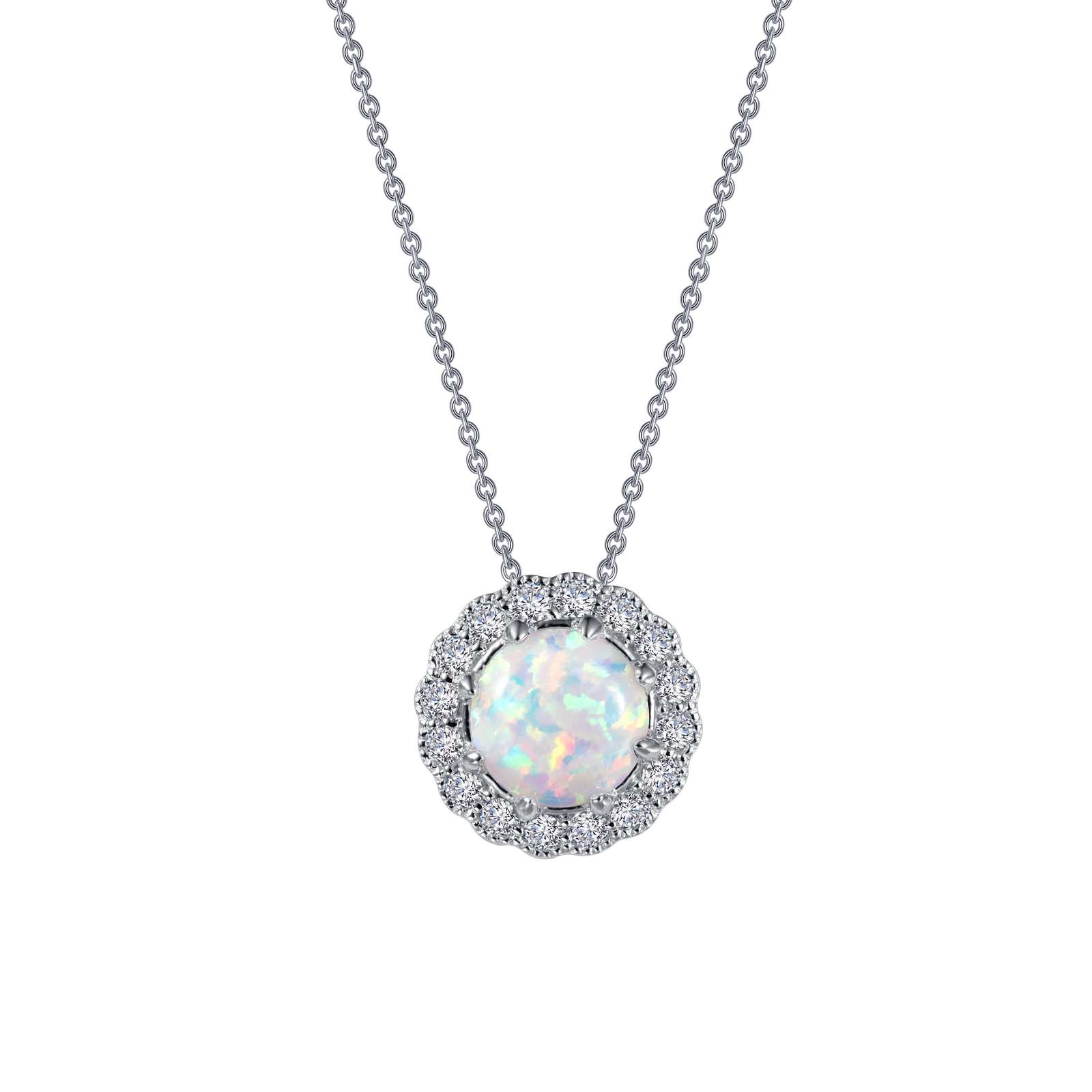 "Simple yet elegant. This halo pendant features a simulated opal center stone, surrounded by Lafonn's signature Lassaire simulated diamonds, in sterling silver bonded with platinum. The pendant comes on an adjustable 18"" chain."