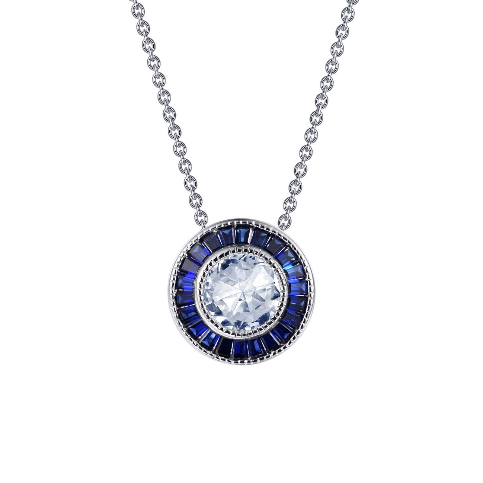 "A statement of elegance. This Art Deco inspired pendant is set with a Lassaire simulated diamond in the center, surrounded by channel-set baguette Lassaire lab-grown sapphires, in sterling silver bonded with platinum.The exquisite milgrain detail makes this beauty a breathtaking piece. The pendant comes on an adjustable 18"" chain."