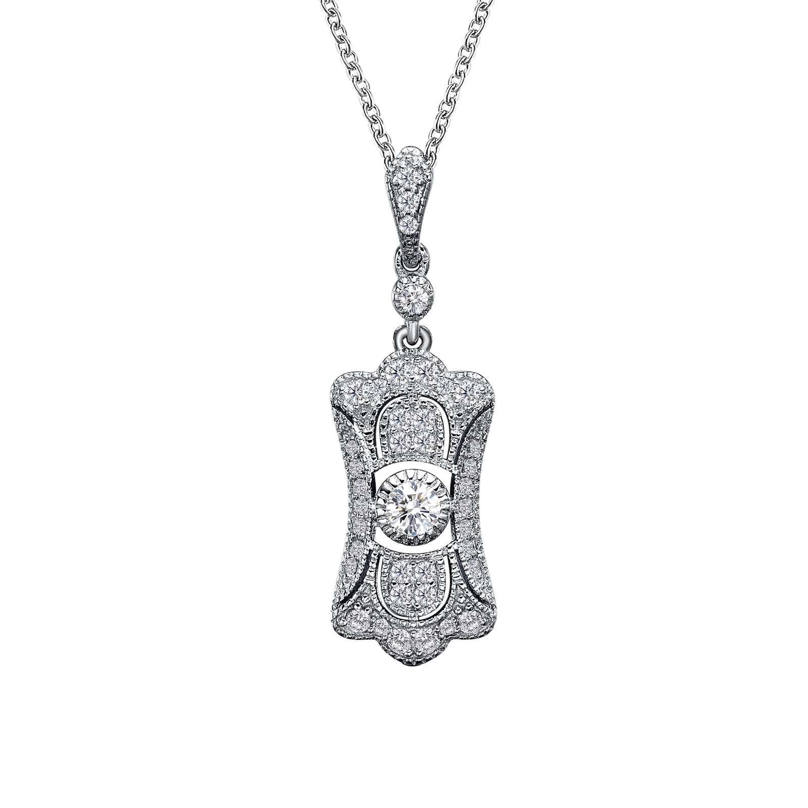 Heritage Simulated Diamond Platinum Necklace by Lafonn Jewelry