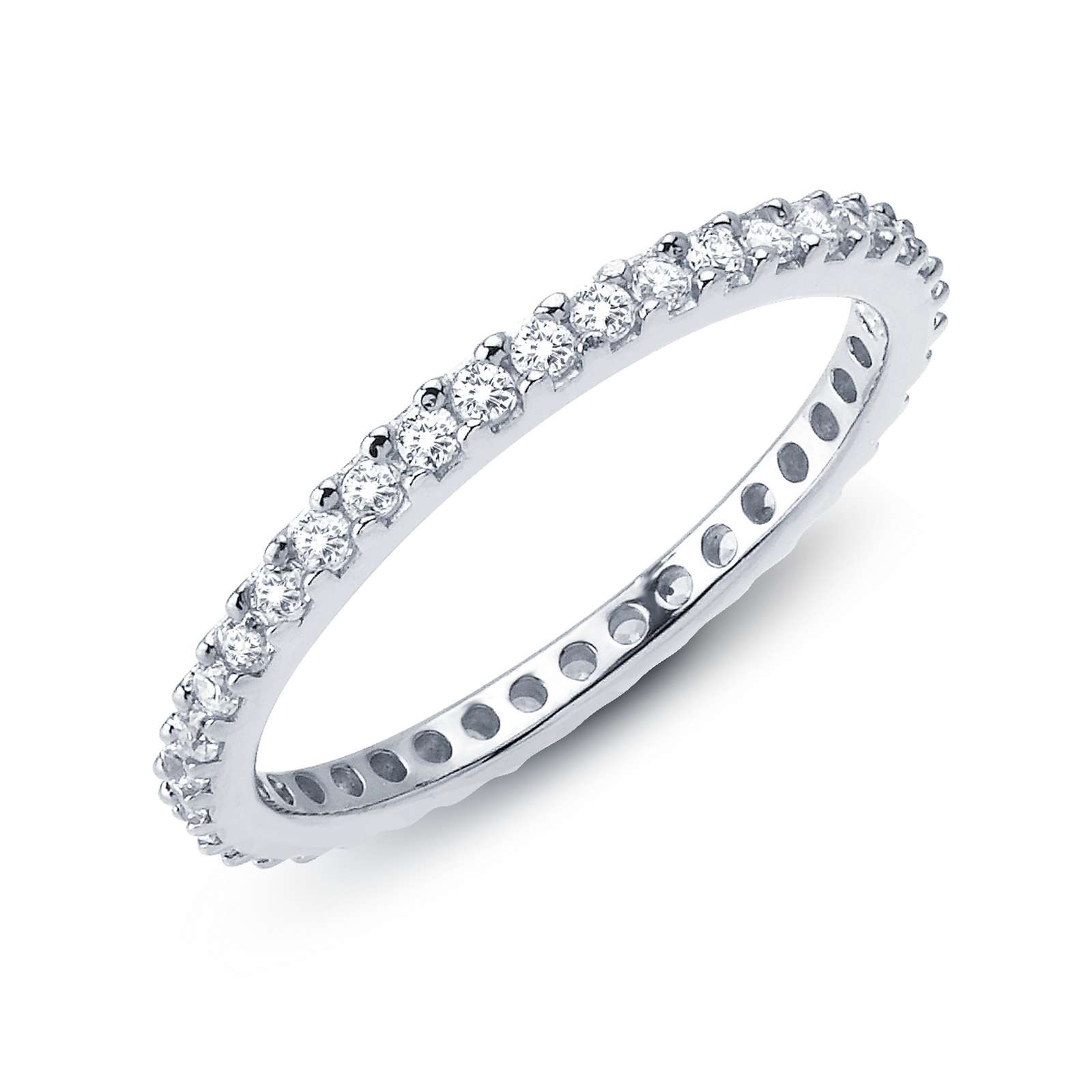 Stackables Simulated Diamond Platinum Ring - Timeless classics for everyday wear. Wear it by itself or stack with other rings. This eternity band is set with Lafonn's signature Lassaire simulated diamonds in sterling silver bonded with platinum.