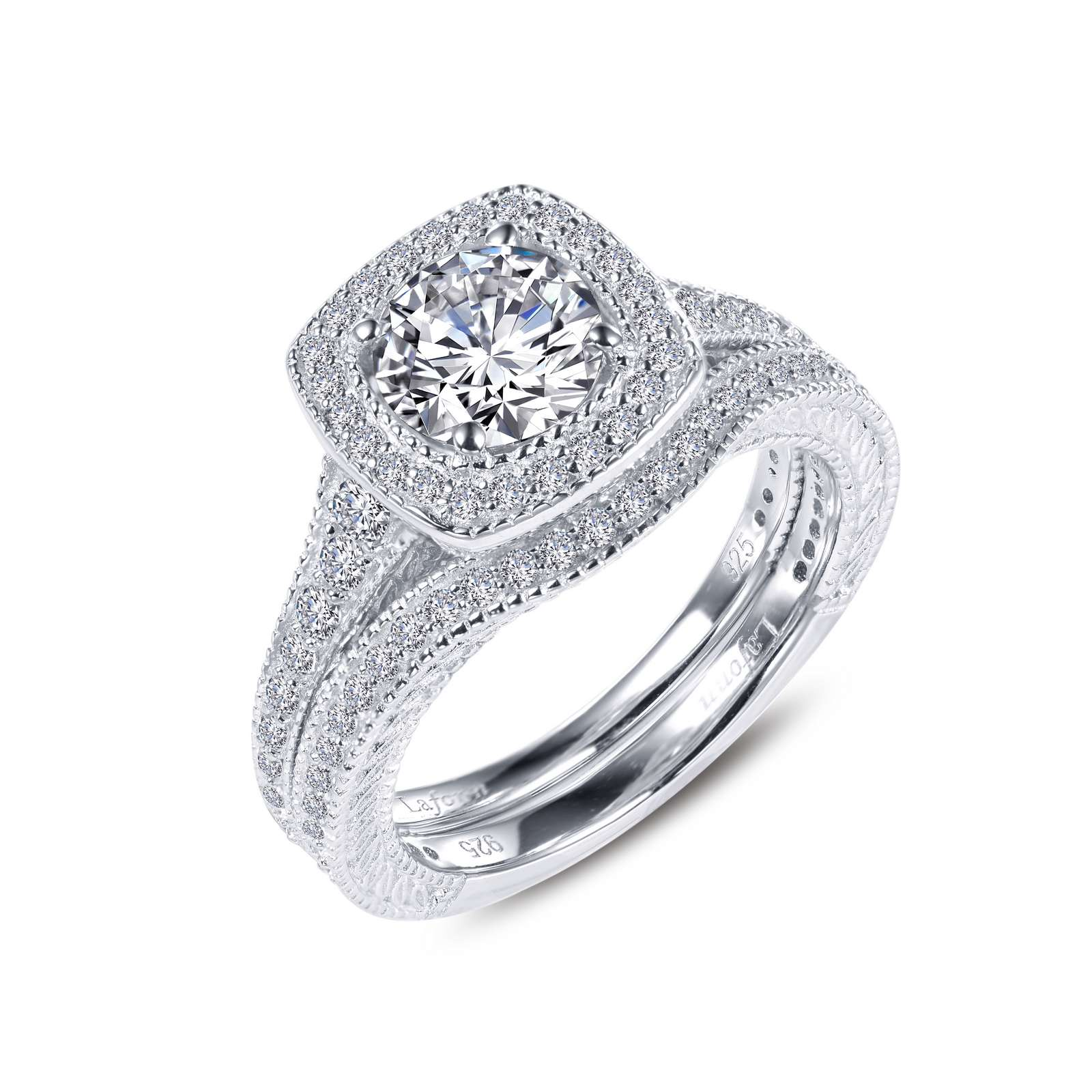 Classic Simulated Diamond Platinum Ring - A timeless classic cushion halo engagement ring with matching band. This wedding set is set with Lafonn's signature Lassaire simulated diamonds in sterling silver bonded with platinum.
