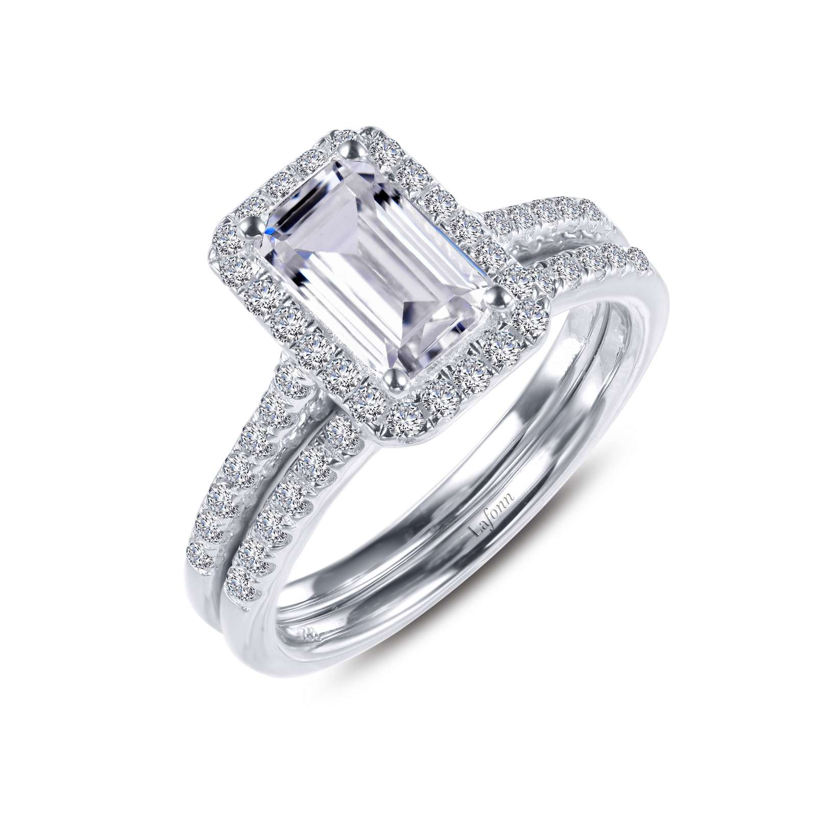 Classic Simulated Diamond Platinum Ring - A timeless classic emerald-cut halo engagement ring with matching band. This wedding set is set with Lafonn's signature Lassaire simulated diamonds in sterling silver bonded with platinum.