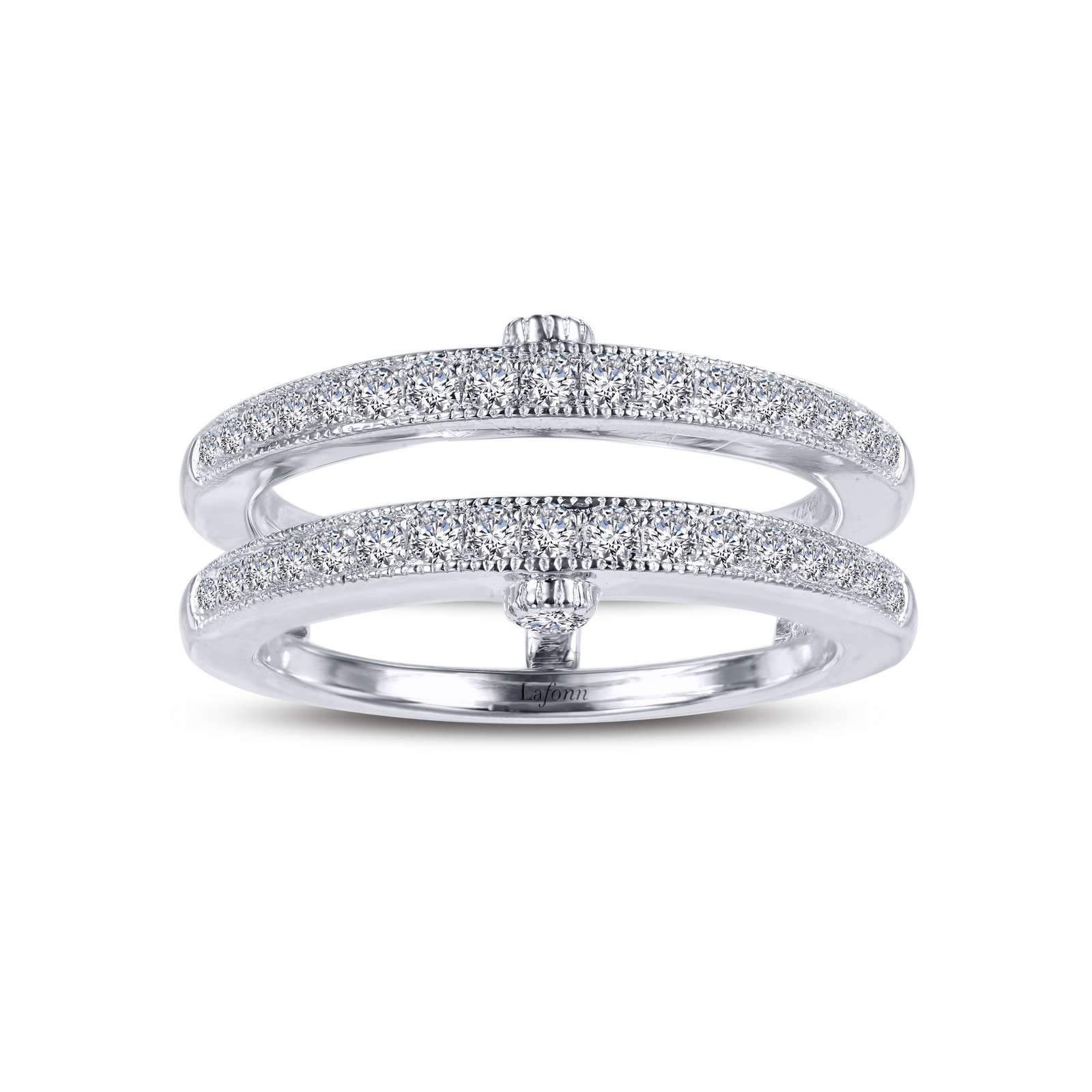 Classic Simulated Diamond Platinum Ring - A versatile addition to your collection. Wear this ring enhancer with an engagement ring or a band, or add a chain and wear it as a slider pendant. This ring enhancer is set with Lafonn's signature Lassaire simulated diamonds in sterling silver bonded with platinum.