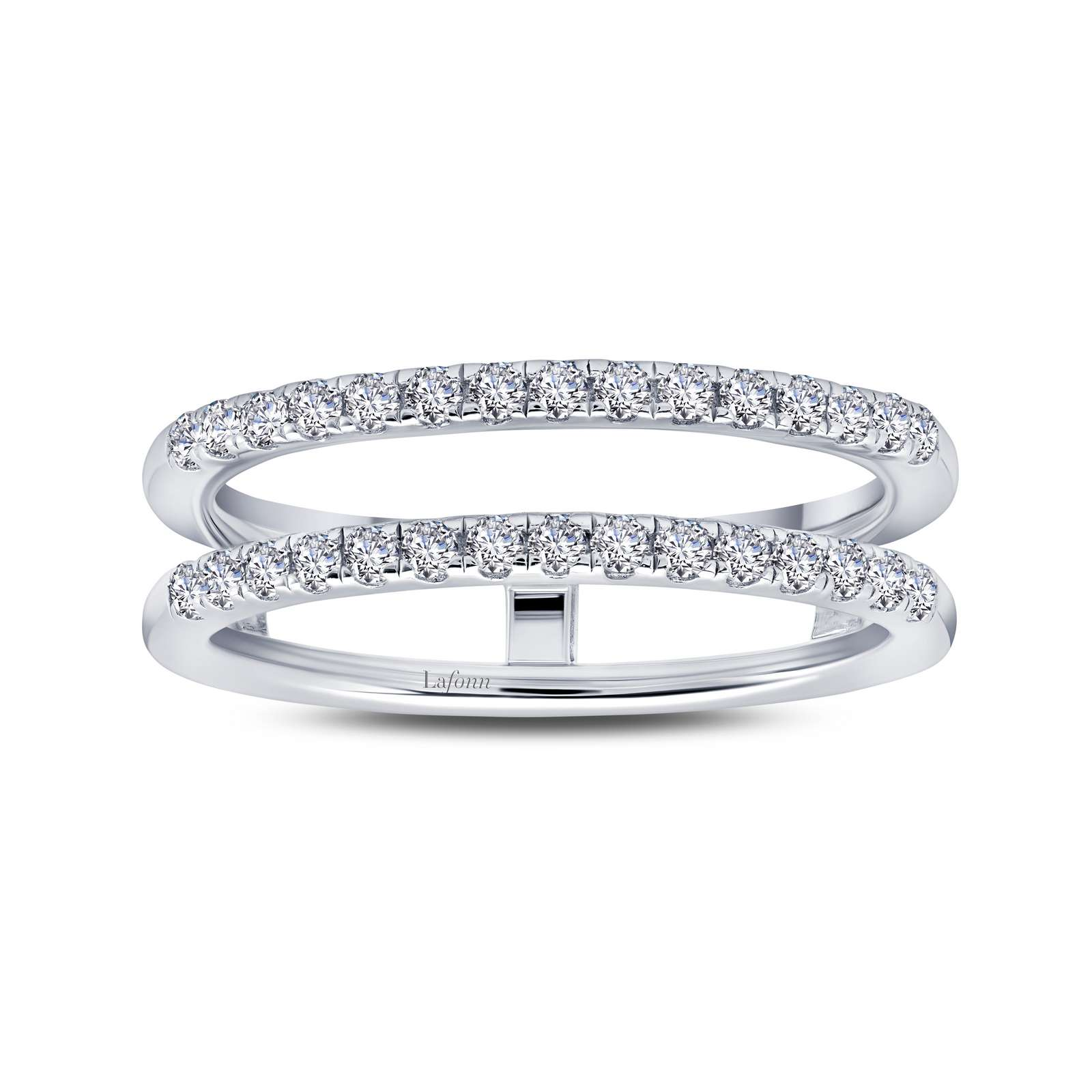 Classic Simulated Diamond Platinum Ring - A versatile addition to your collection. Wear this ring enhancer with an engagement ring or a band. This ring enhancer is set with Lafonn's signature Lassaire simulated diamonds in sterling silver bonded with platinum.