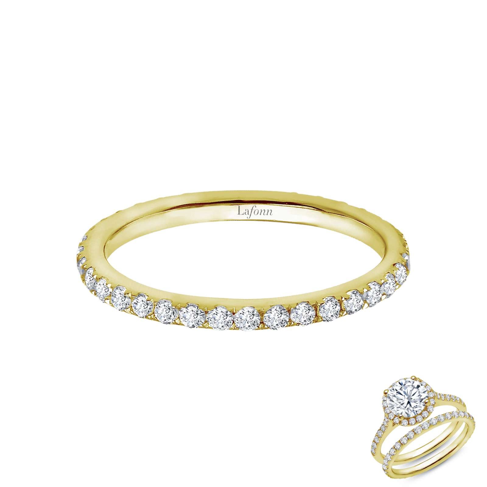 Stackables Simulated Diamond Gold Ring - Timeless classics for everyday wear. Wear it by itself or stack with other rings. This ring is set with Lafonn's signature Lassaire simulated diamonds in gold plated sterling silver.