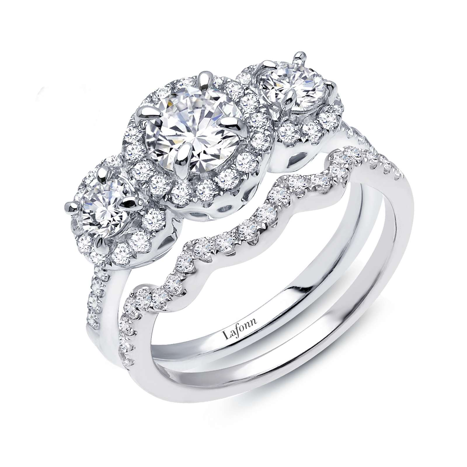 Classic Simulated Diamond Platinum Ring - Elegant and sophisticated. This radiant wedding set is set with Lafonn's signature Lassaire simulated diamonds in sterling silver bonded with platinum.