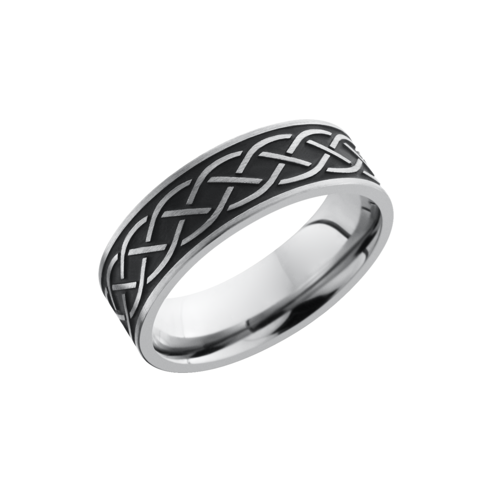 Black Wedding Bands.Titanium 7mm Band