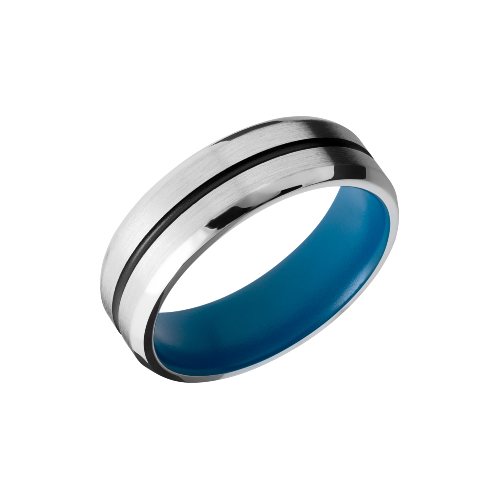 Cobalt Chrome Wedding Band - Cobalt chrome 7mm beveled band with 1, 1mm groove filled with black Cerakote and a sky blue Cerakote sleeve