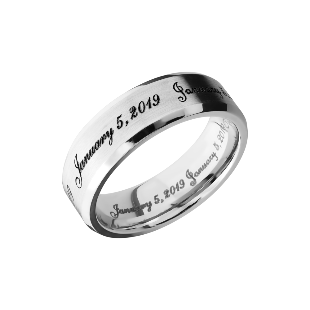 Cobalt Chrome Wedding Band - Cobalt chrome 7mm beveled band with laser-carved fonts