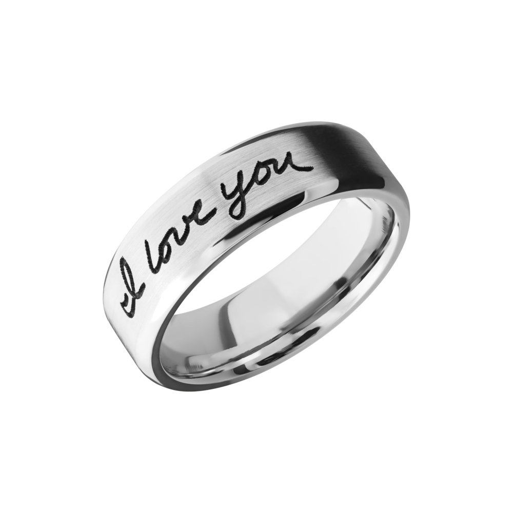 Cobalt Chrome Wedding Band - Cobalt chrome 7mm beveled band with laser-carved handwriting