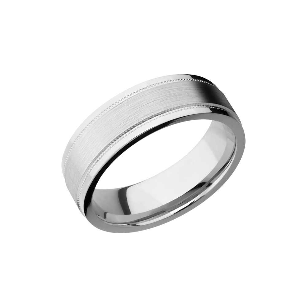 Cobalt Chrome Wedding Band - Cobalt chrome 7mm flat band with grooved edges and reverse milgrain detail