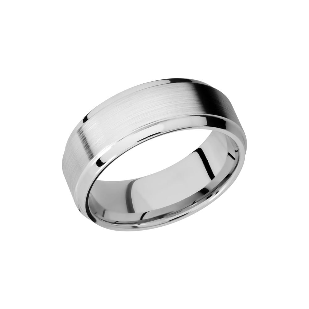 Cobalt Chrome Wedding Band - Cobalt Chrome 8mm beveled band with a stepped edge