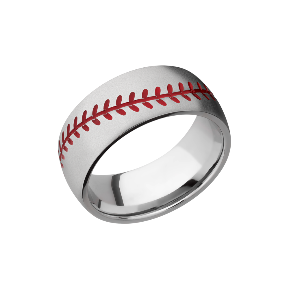Cobalt chrome Wedding Band - Cobalt chrome 8mm domed band with laser-carved baseball stitching and red Cerakote