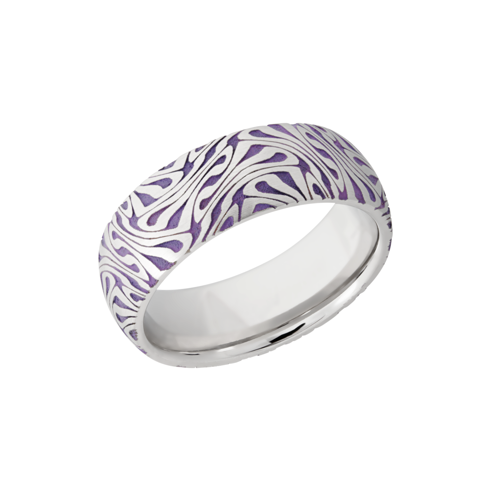 Cobalt chrome & Cerakote Wedding Band - Cobalt chrome 8mm domed band with a laser-carved escher pattern featuring Bright Purple Cerakote in the recessed pattern
