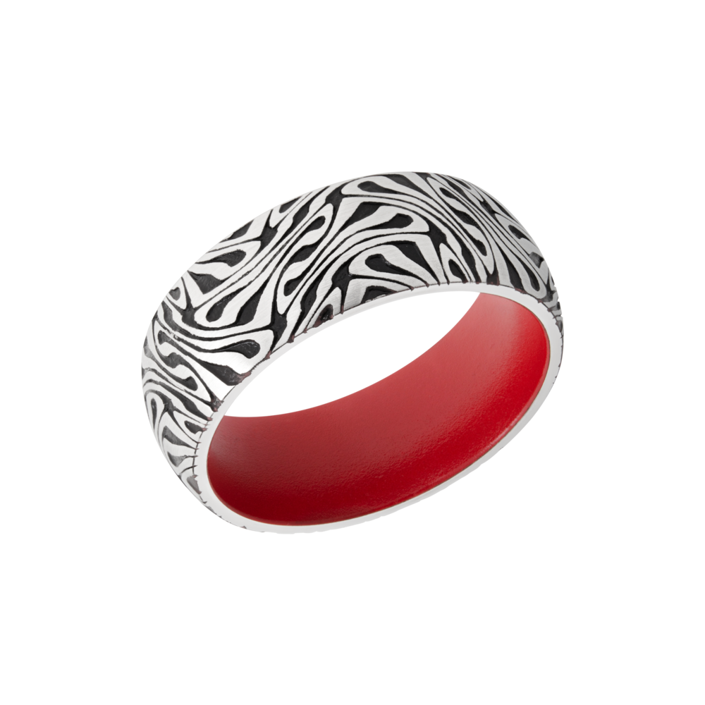 Cobalt chrome & Cerakote Wedding Band - Cobalt chrome 8mm domed band with a laser-carved escher pattern featuring Black Cerakote in the recessed pattern and Red Cerakote in the sleeve