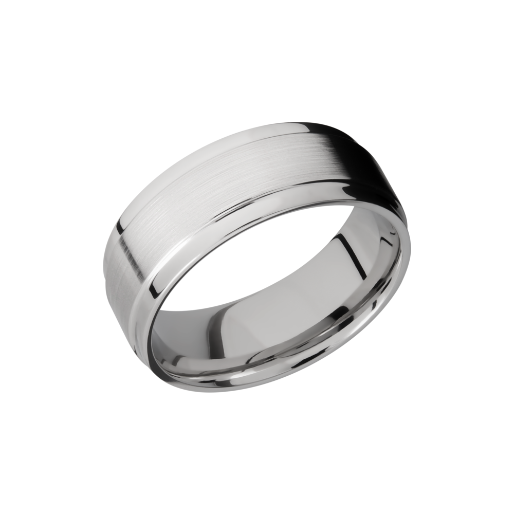 Cobalt Chrome Wedding Band - Cobalt chrome 8mm flat band with grooved edges