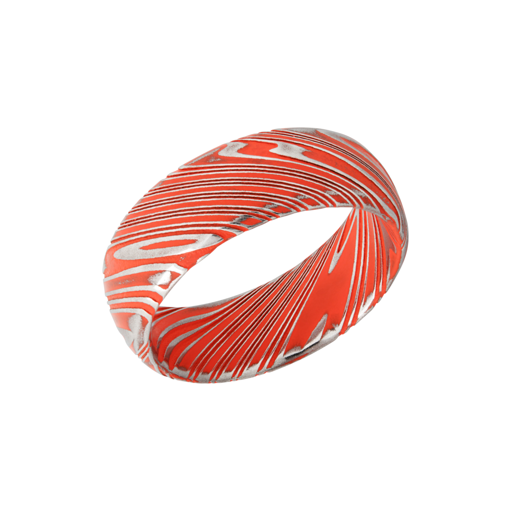 Damascus Steel & Cerakote Wedding Band - Woodgrain Damascus steel 8mm domed band beveled edges and Hunter Orange Cerakote in the recessed pattern