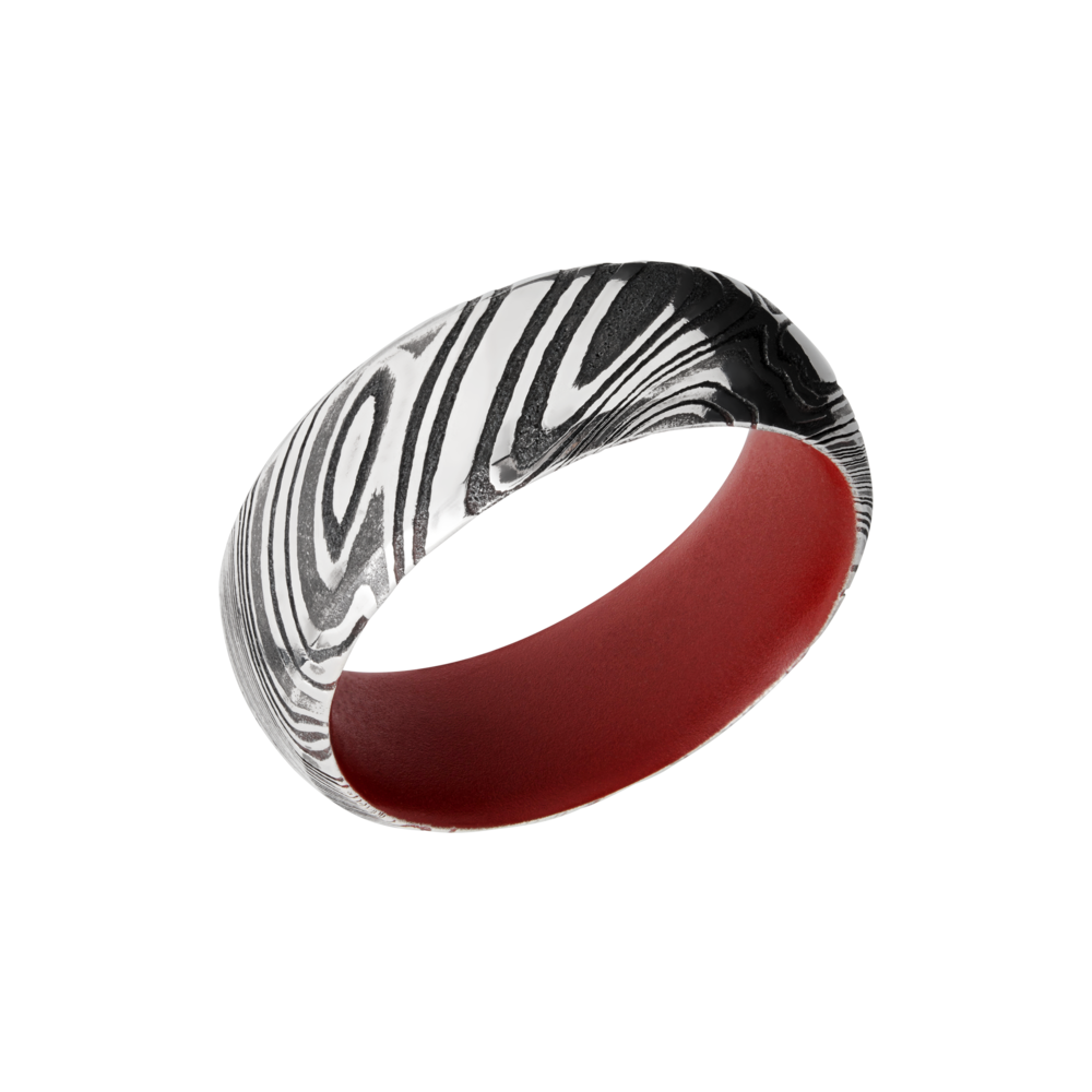 Damascus Steel & Cerakote Wedding Band - Woodgrain Damascus steel 8mm domed band with beveled edges a red Cerakote sleeve