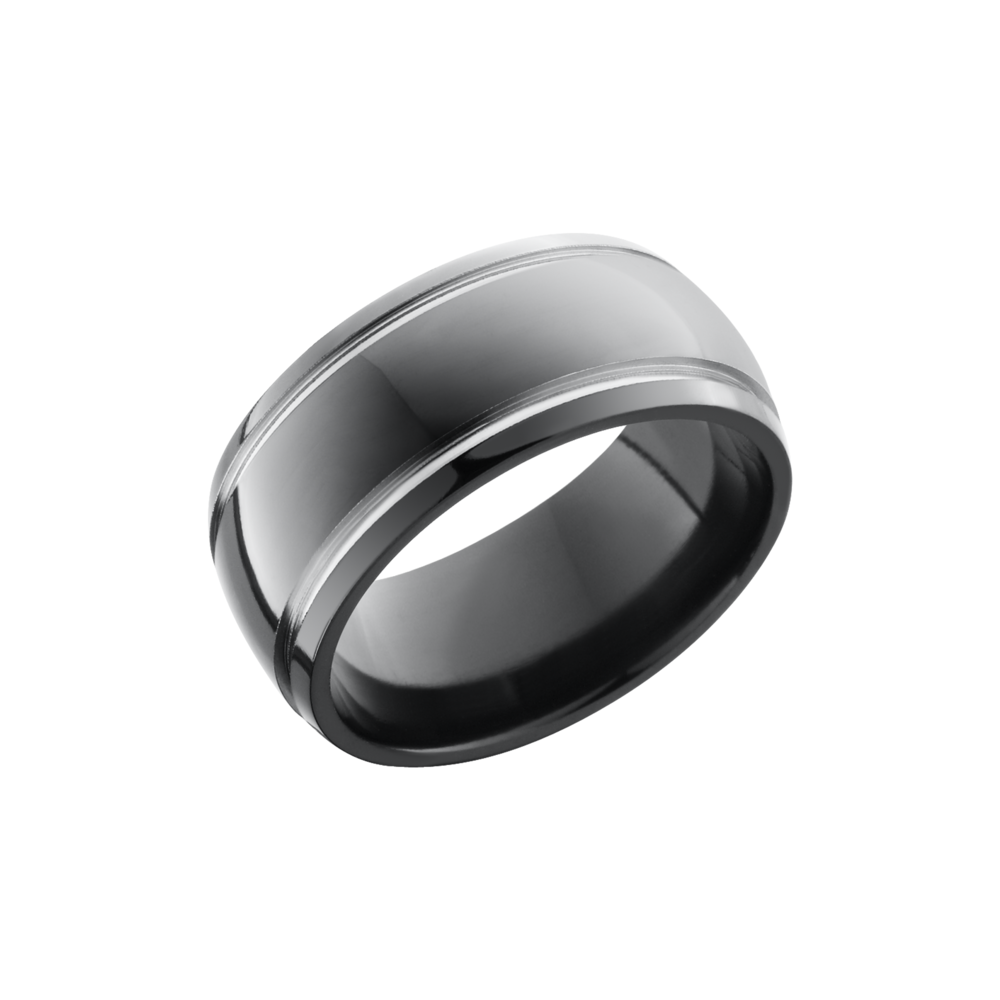 Zirconium Wedding Band - Zirconium 10mm domed band with 2, 1mm grooves