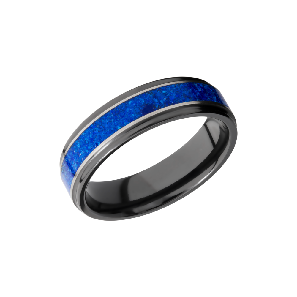 Zirconium & Mosaic Wedding Band - Zirconium 6mm flat band with grooved edges and a mosaic inlay of Lapis
