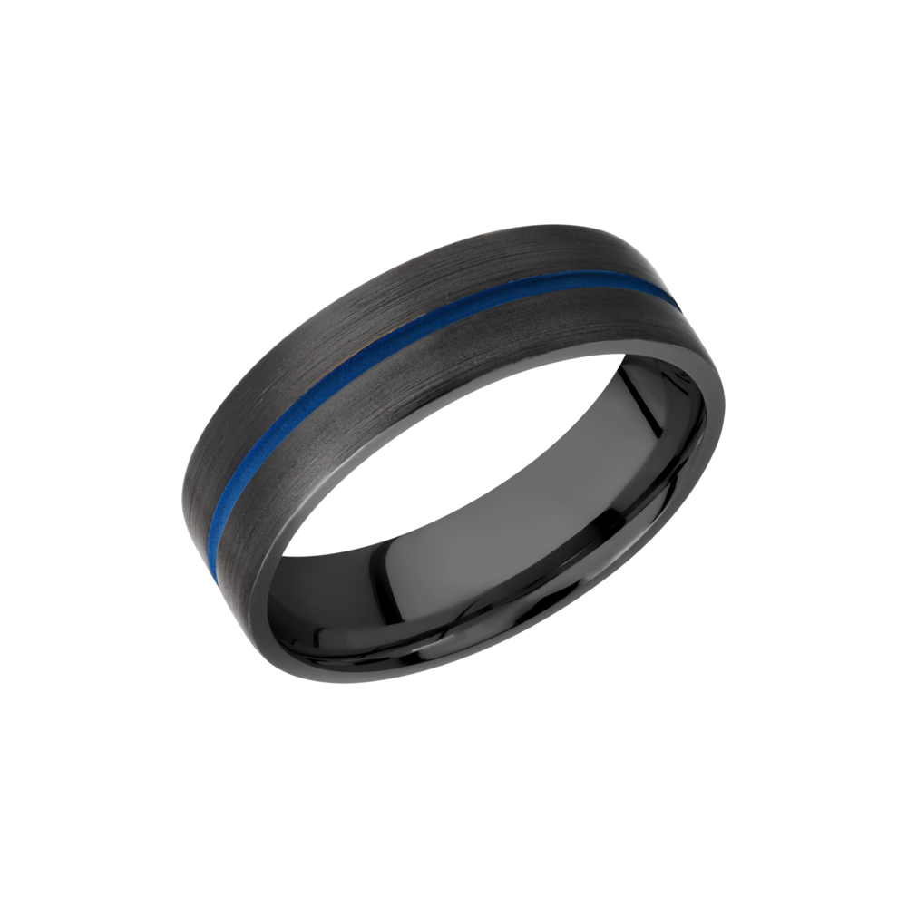 Zirconium Wedding Band - Zirconium 7mm flat band with 1, 1mm blue Cerakote groove