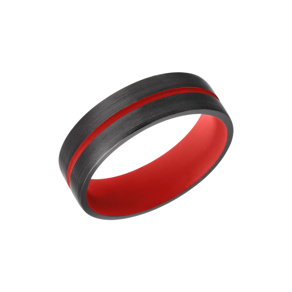 Zirconium & Cerakote Wedding Band - Zirconium 6mm domed band with a 1mm groove featuring Red Cerakote