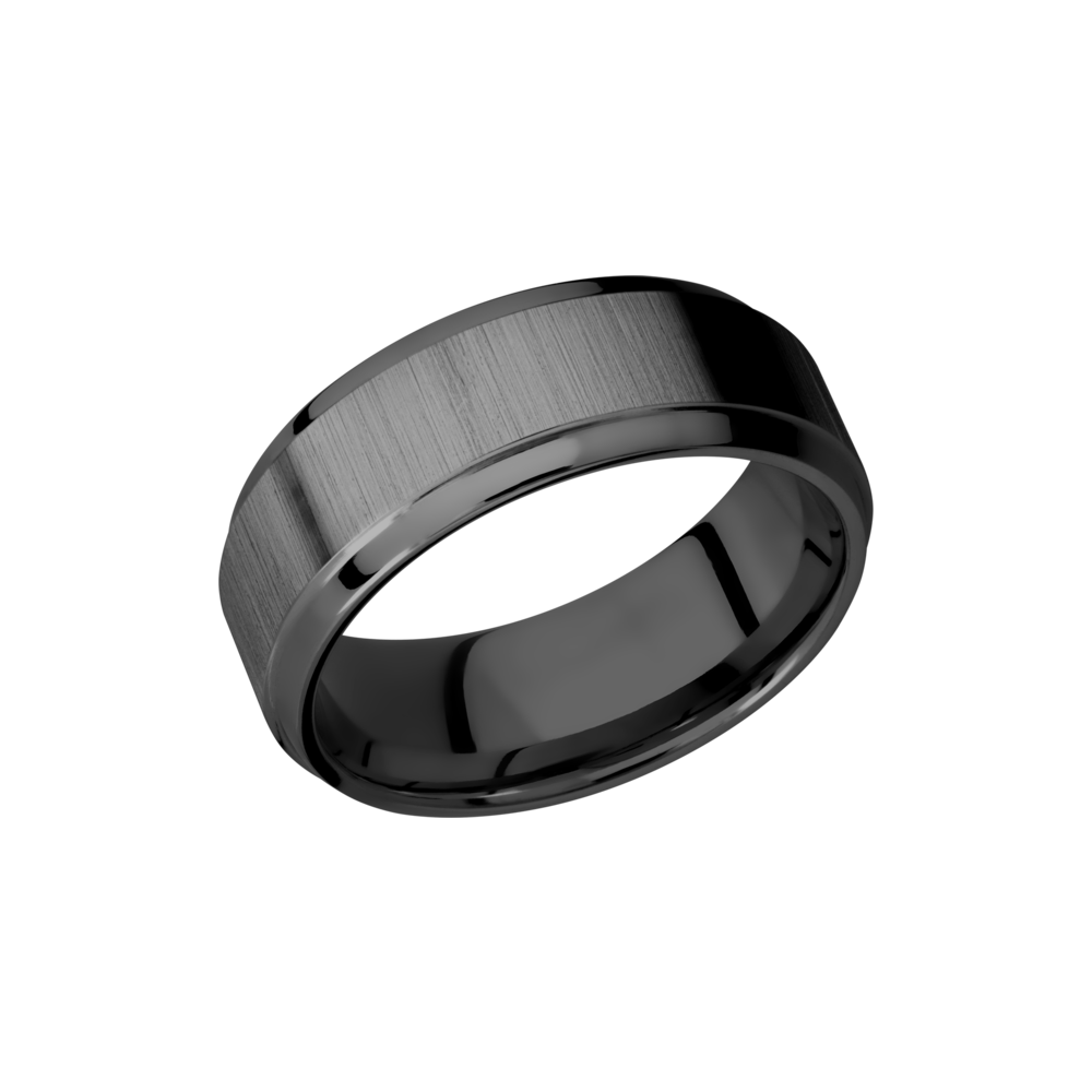 Zirconium Wedding Band - Zirconium 8mm beveled band